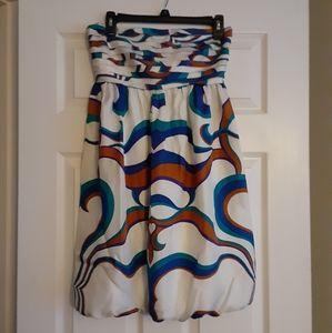 100% silk printed tube top bubble bttm dress